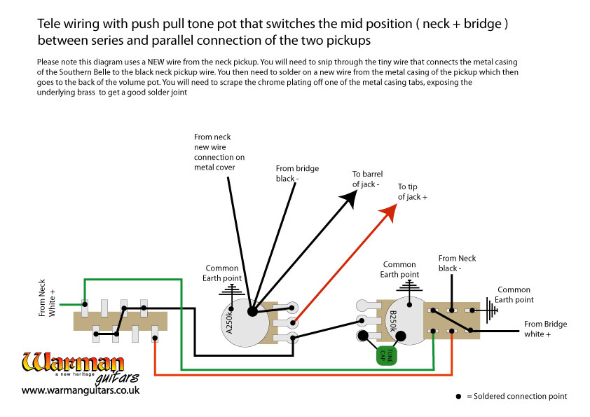 Adding series / parallel wiring to a Tele using a push pull pot. – Warman  Guitars | With Push Pull Tone Pot Wiring Diagram For Telecaster |  | Warman Guitars